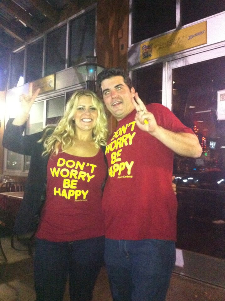 Liz Gress and Darren at North OC USC Alumni club in DWBHshirts