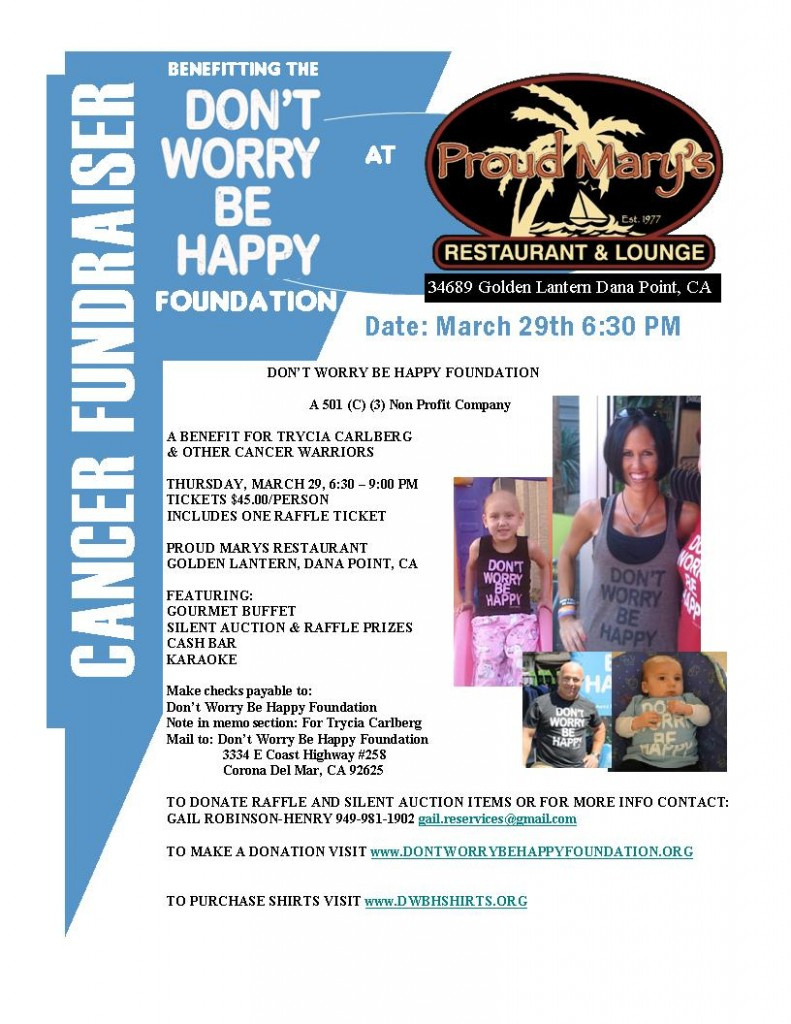 Join DWBH at Proud Mary in Dana Point on 3/29/12