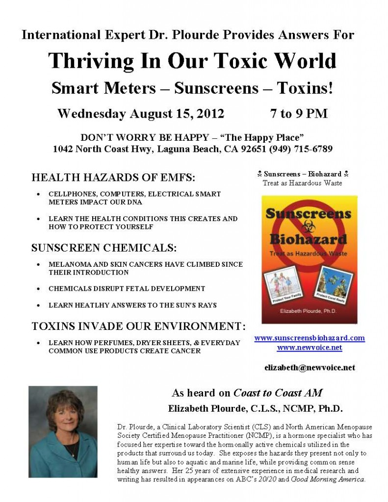 Dr. Plourde talks 8/15 at 7 pm on Thriving in our Toxic World at The Happy Place in Laguna Beach